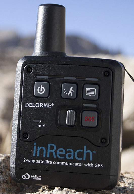 The DeLorme inReach on a rock above Guitar Lake in the Mt. Whitney area