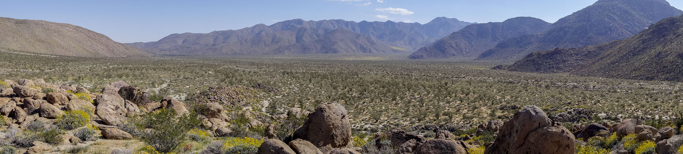 Panorama of Coyote Canyon in Anza-Borrego Desert State Park.