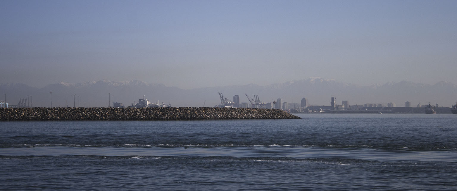 Long Beach Harbor and the San Gabriel Mountains