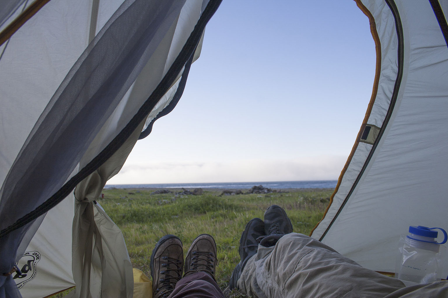 Escaping from the wind and enjoying the view from the tent