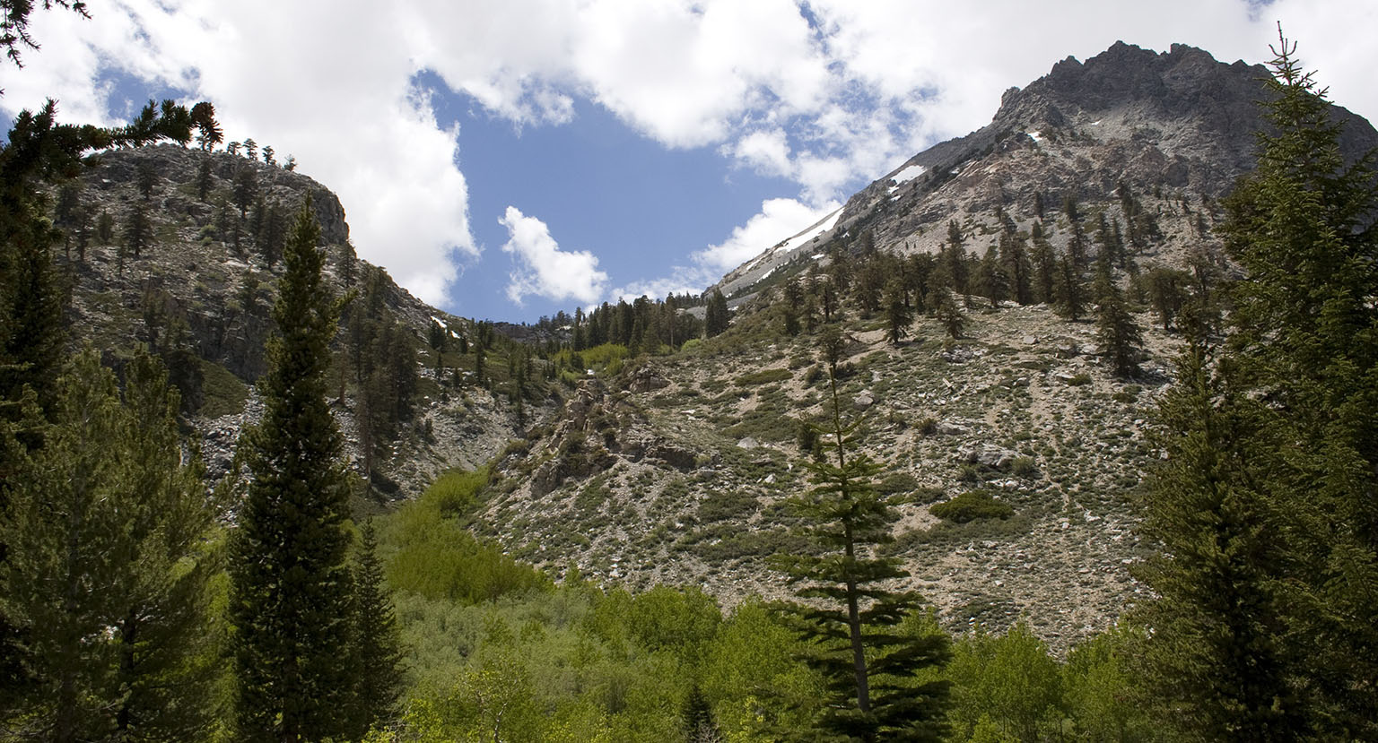 The western view - towards Kearsarge Pass - from Onion Valley Campground