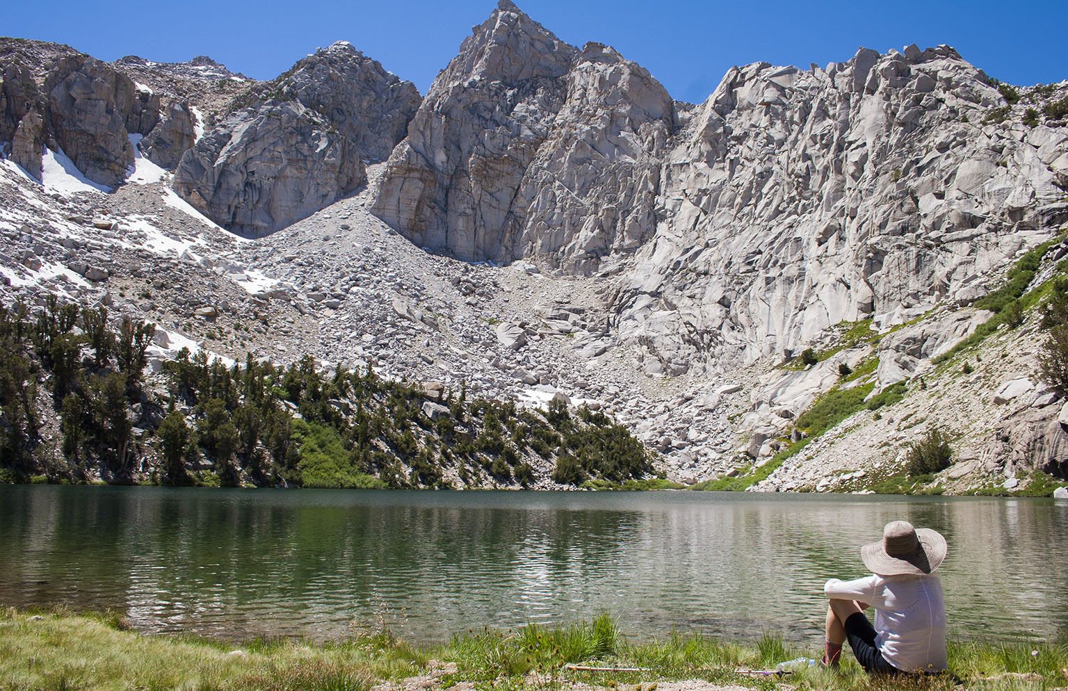 Em on the shores of Heart Lake