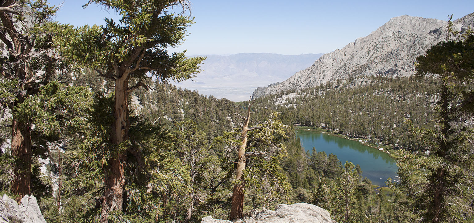 Flower Lake from Heart Lake with Owens Valley down below