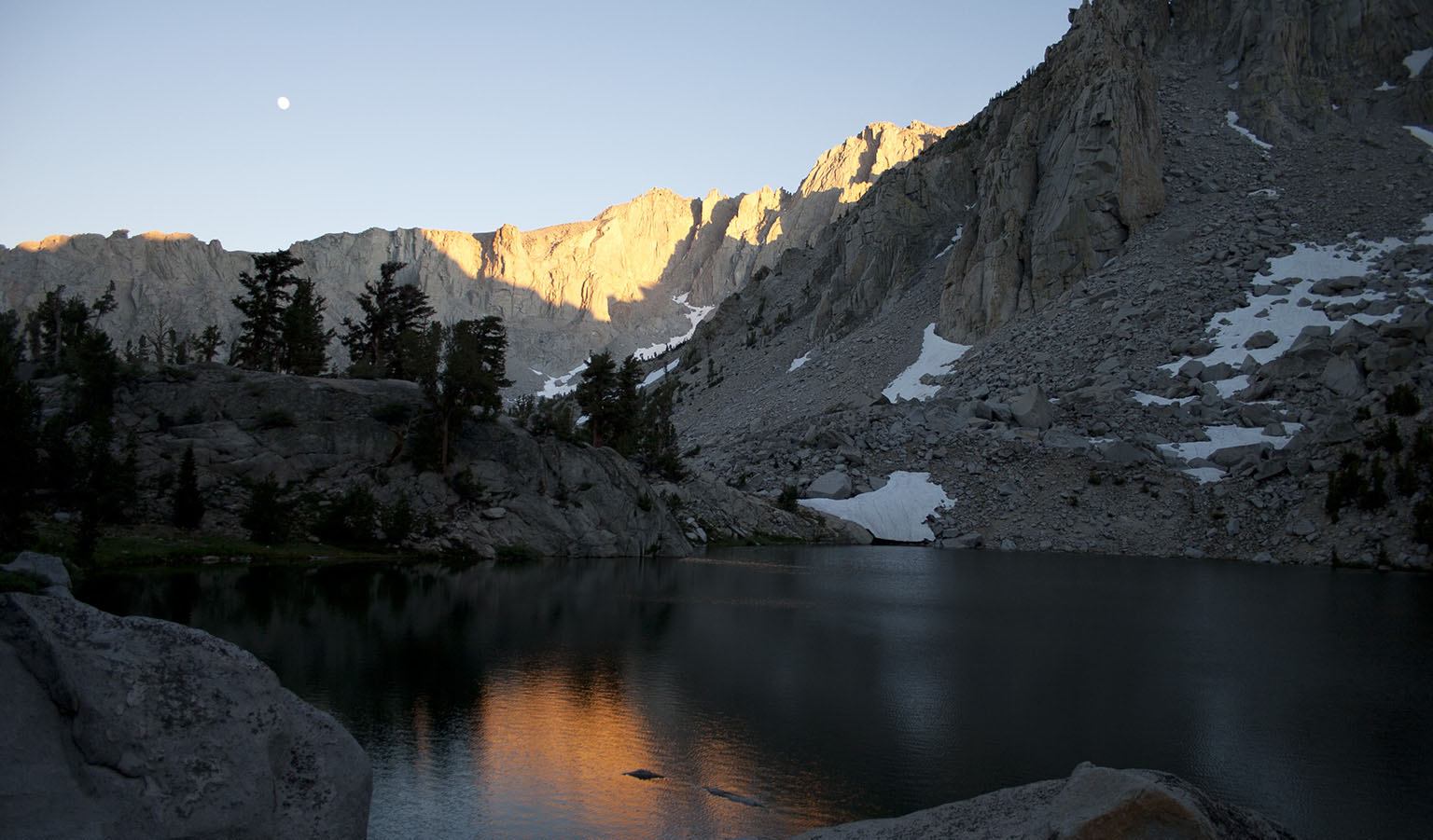 Heart Lake before sunset. Our camp was on the boulder left of center
