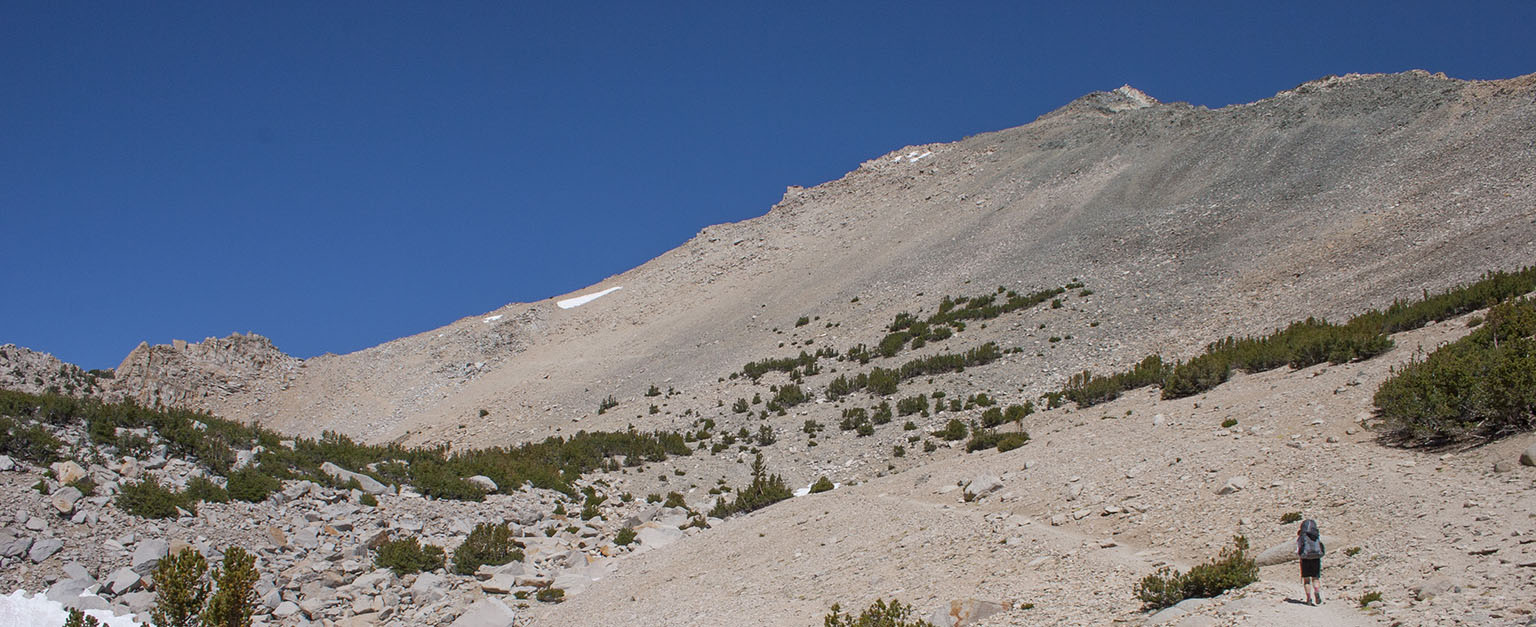 Below Kearsarge Pass. The pass is the notch on the right side of the rocks left of center