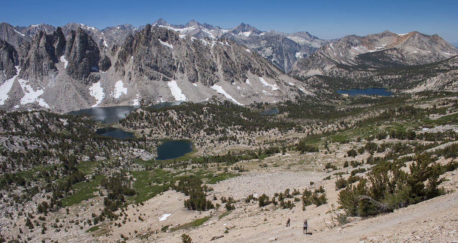 Looking down from Kearsarge Pass. Kearsarge Lakes on the left, Bullfrog Lake in the distance.