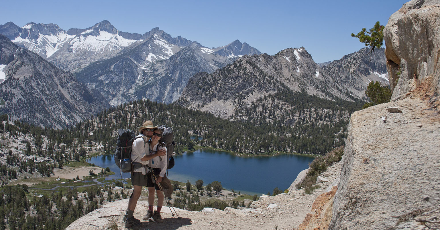 On the high trail in Kearsarge Basin, Bullfrog Lake below us