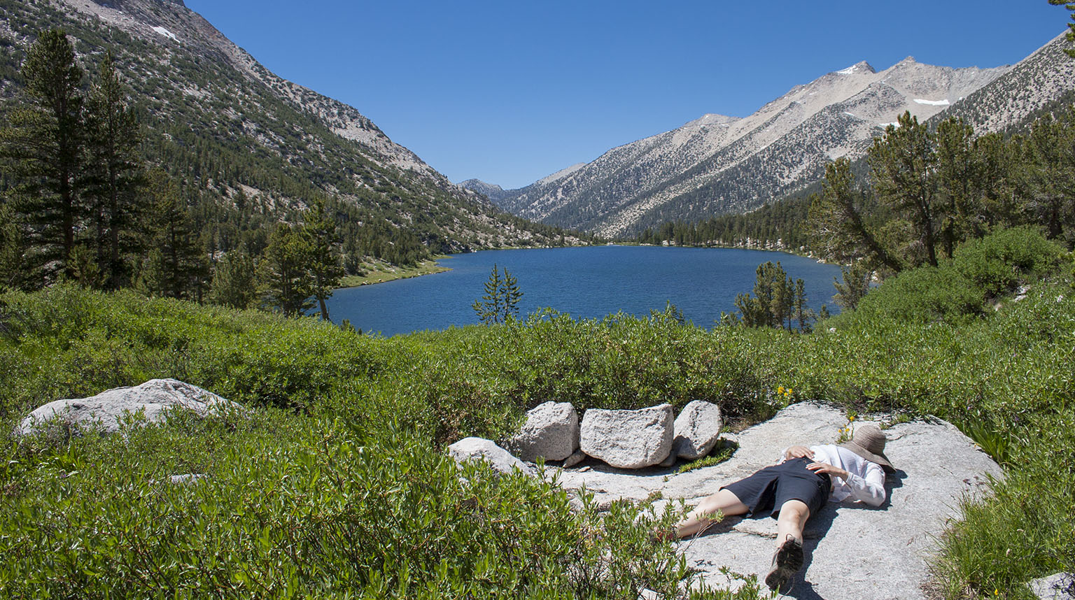 Em taking a break just above Charlotte Lake.