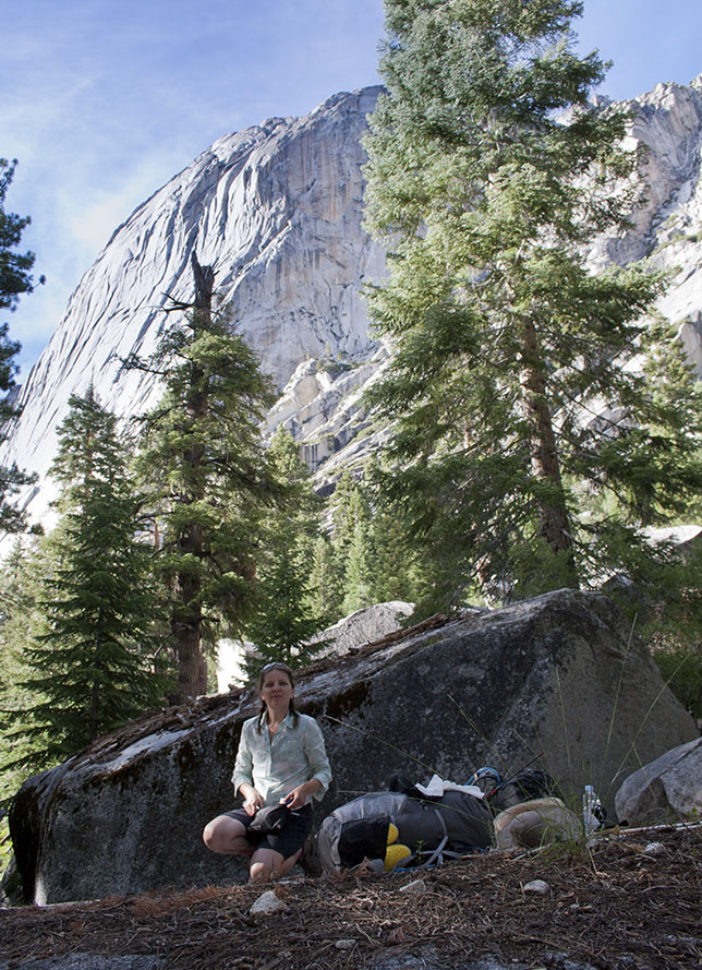 Lunch spot on the rocks with Granite Monument in the background