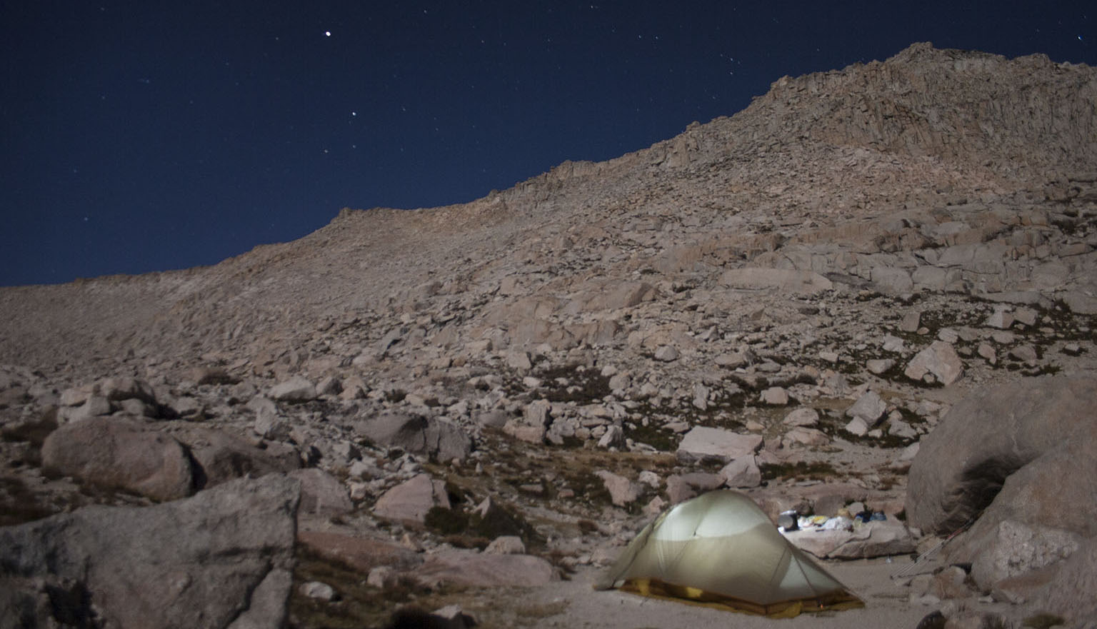 Our moonlit camp at High Lake, New Army Pass in the background