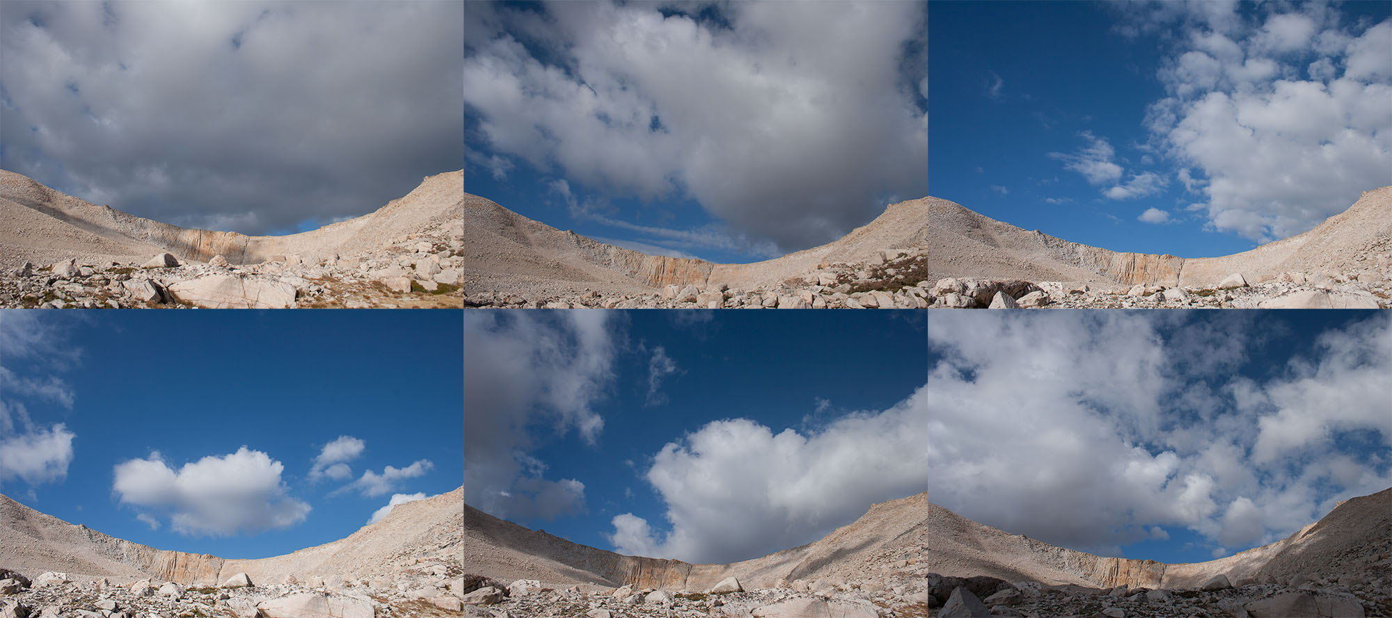 The same rock face between Cirque Peak and New Army Pass, pictures taken within half an hour