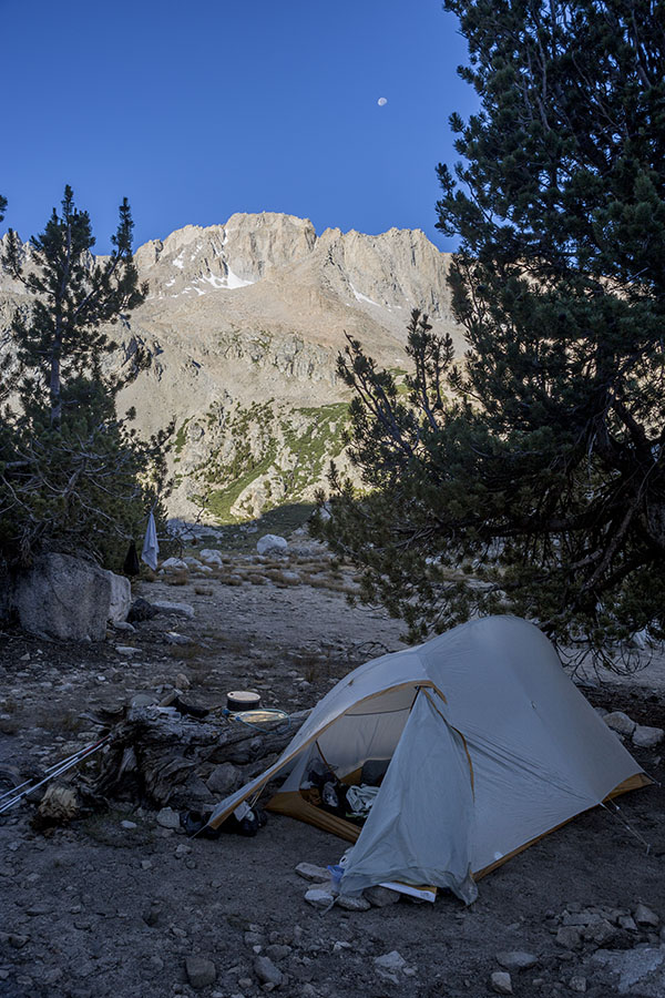 Our camp on the PCT with the moon and Mt. Stanford in the back