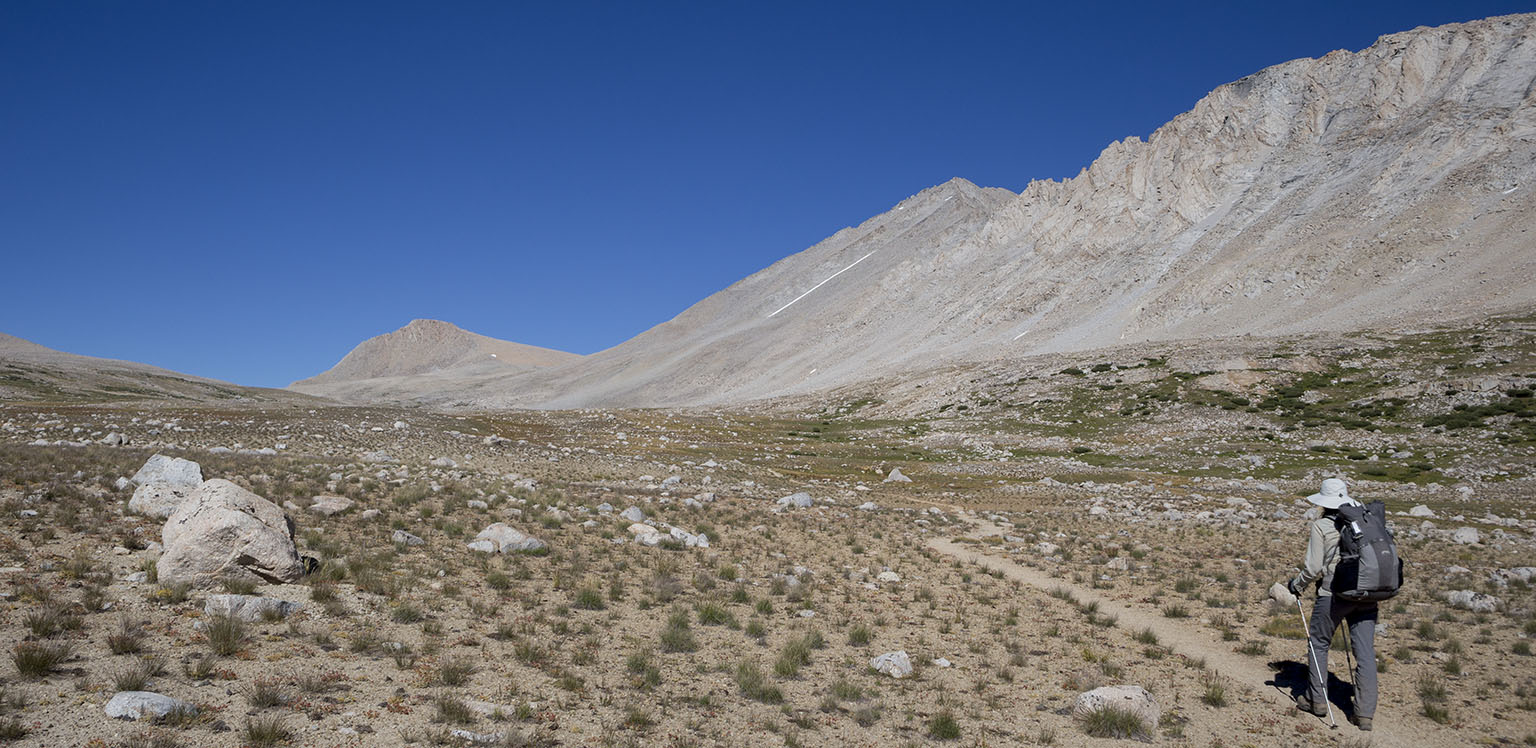 Walking towards Shepherd Pass, Mt. Tyndall in the distance
