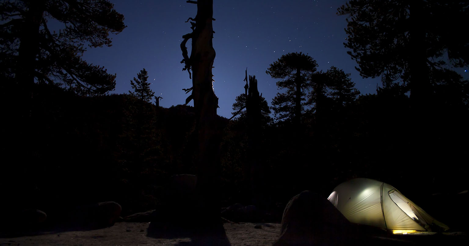 Campsite at night in Little Round Valley.