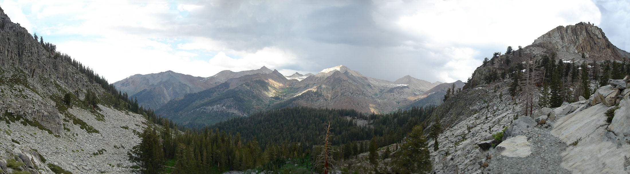 Panorama of Eagle Creek's drainage, looking down into Mineral King Valley