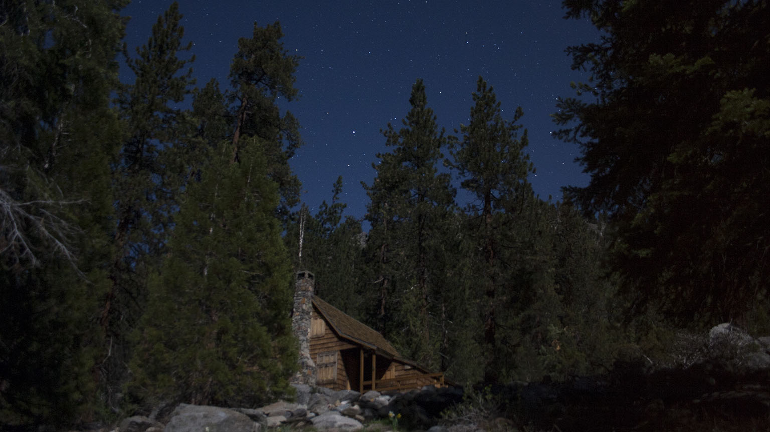 Mineral King cabin by moonlight