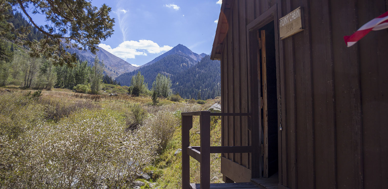The Point Cabin in Mineral King Valley, Farewell Gap in the back