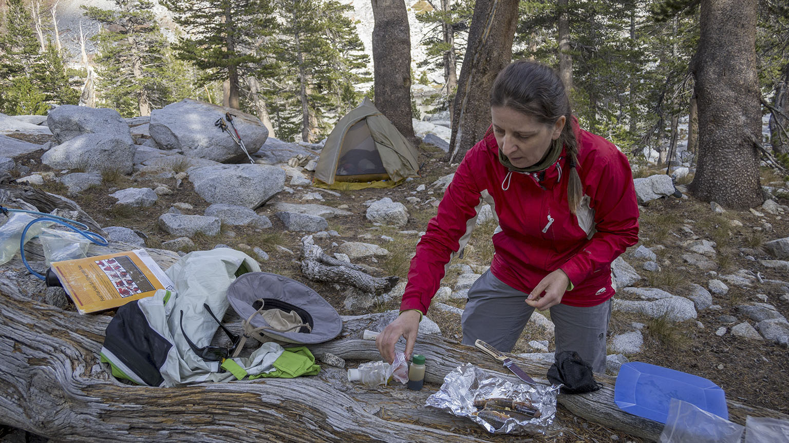 Em preparing trout at our campsite above Eagle Lake