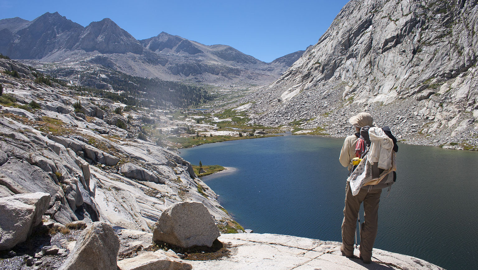 High above Lower Palisades Lake. Mather Pass is the lowest notch all the way in the back