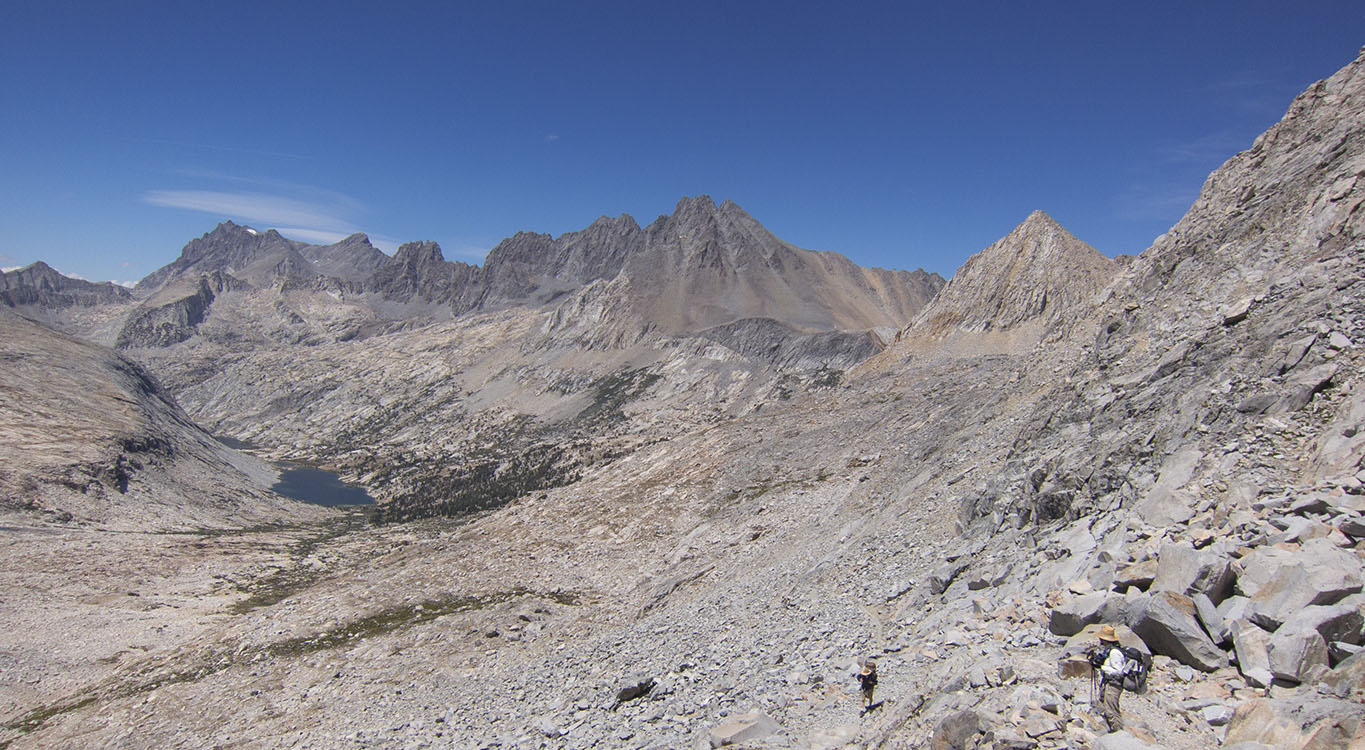 The Palisades and their lakes from Mather Pass