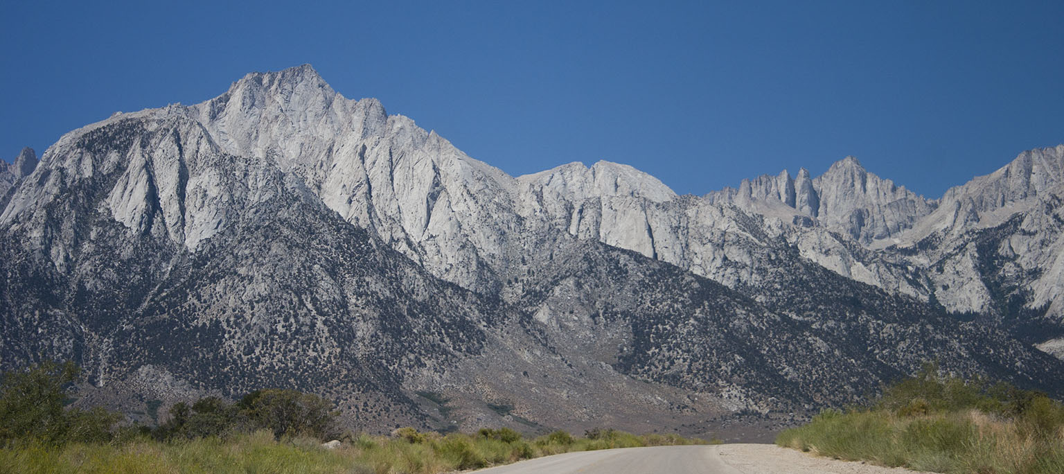 On Whitney Portal Road. Lone Pine Peak on the left, Mt. Whitney on the right.
