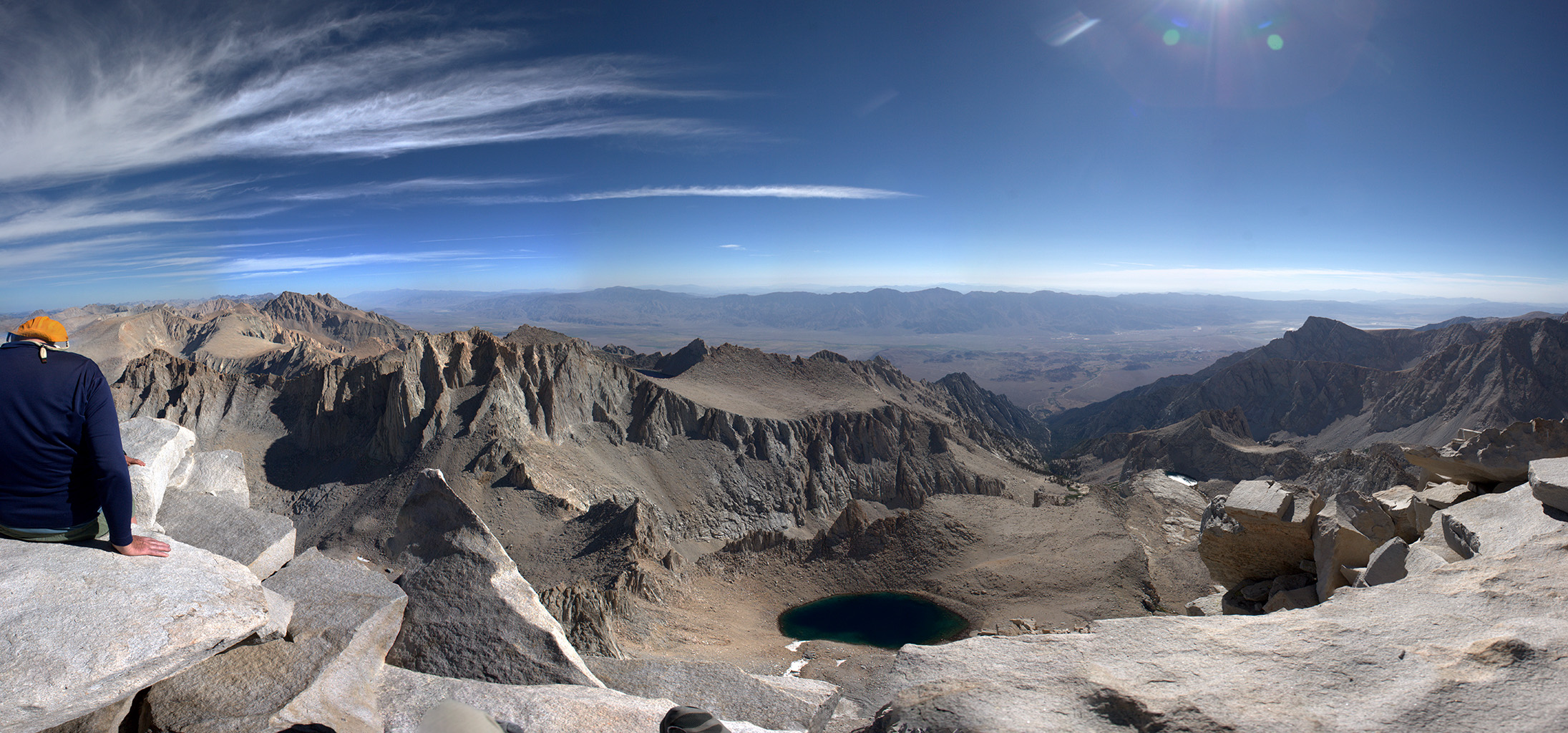 Panorama looking east from the summit of Mt. Whitney. Upper Boy Scout Lake in the bottom middle