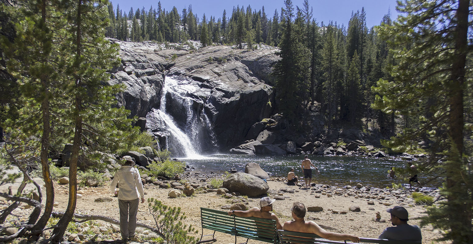 White Cascade and the beach at Glen Aulin